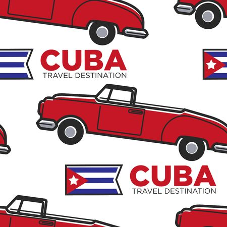 Cuban retro car and flag cabriolet seamless pattern