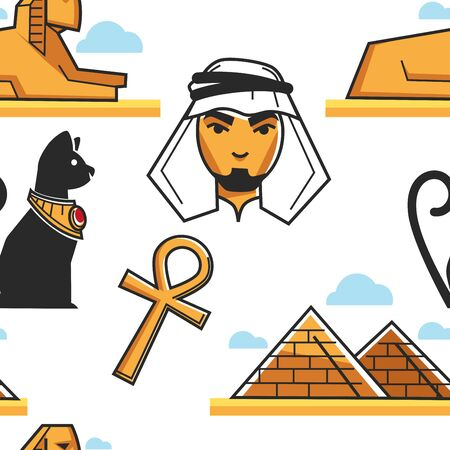 Egyptian culture and architecture seamless pattern traveling African desert