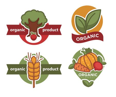 Organic product isolated icon tree and plant wheat and vegetables Ilustracja