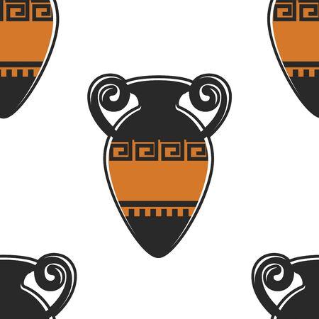 Greece symbol ancient amphora seamless pattern Greek pottery Ilustração