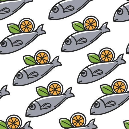 Fish with lemon Greek food and cuisine seamless pattern 일러스트