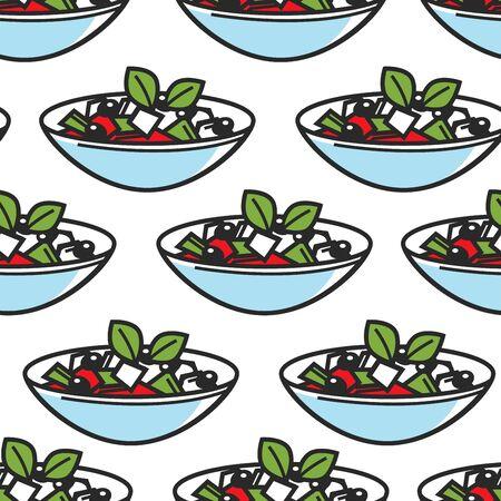 Greek salad dish seamless pattern Greece cuisine Иллюстрация