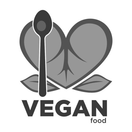 Vegan food plant leaves and spoon isolated icon Çizim