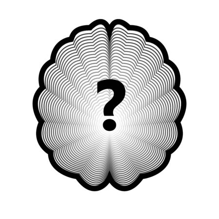 Brain logo and question mark isolated human organ