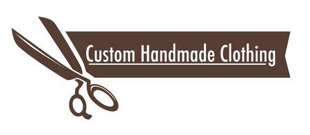 Custom handmade clothing isolated icon scissors and ribbon