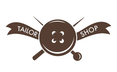 Tailor shop pin needle and button isolated icon Illustration