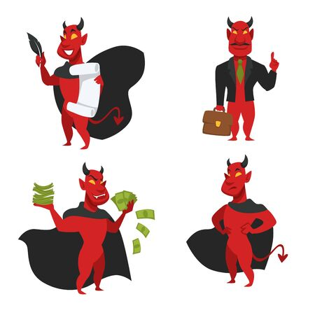 Red skin devil soul contract and money bills Vetores