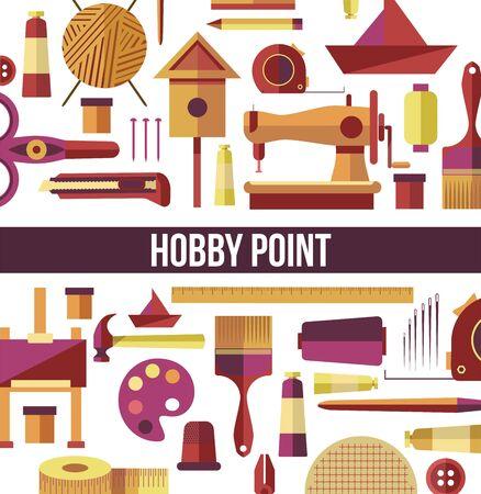 Hobby point seamless pattern handicraft tools leisure activity Ilustrace