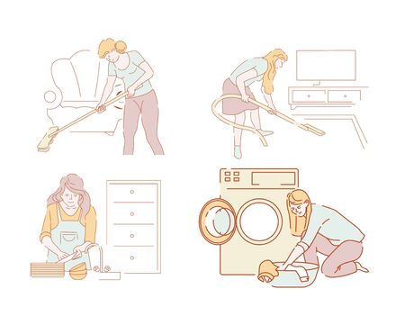 Cleaning and household chores vector women or housewives and housework