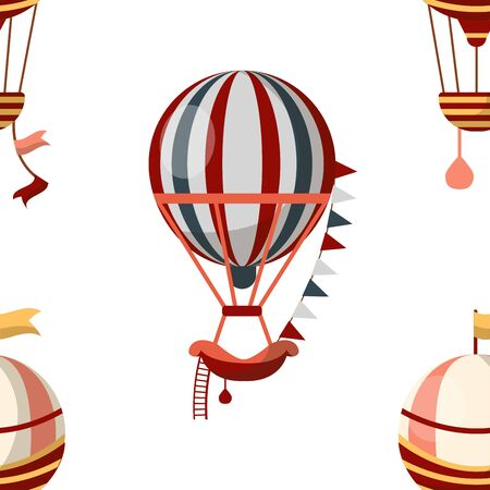 Air balloon seamless pattern retro aircraft or transport 向量圖像