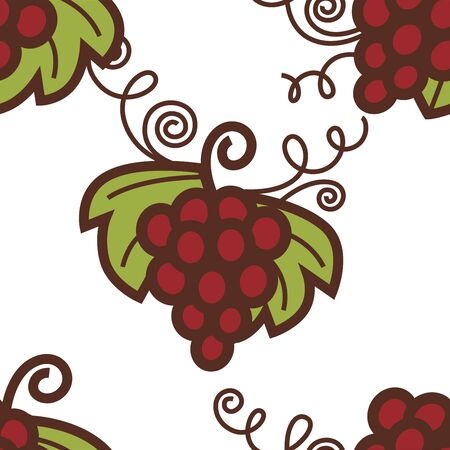 Grapes bunch seamless pattern winemaking berries cluster Иллюстрация