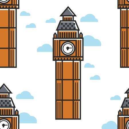 London Big Ben tower seamless pattern building Иллюстрация