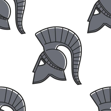 Gladiator helmet seamless pattern Ancient Greece symbol