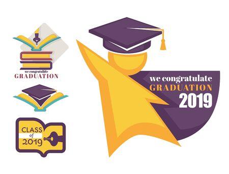 Academic hat happy graduation greeting isolated icons vector Ilustração