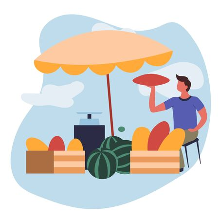 Farm food man selling melons and watermelons market vector fruits or berries under parasol at marketplace organic harvest gardening product mechanic weigher or scales shopping vendor or seller Иллюстрация