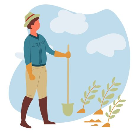 Farmer with spade or shovel and vegetables sprouts farm garden vector farming organic food growing and cultivation man in hat and rubber boots gardening tool or equipment agricultural industry Иллюстрация
