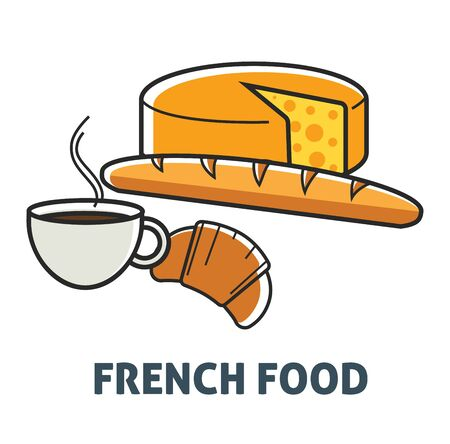 France cuisine French food breakfast dairy and bakery product vector cheese head and baguette croissant and coffee snack and drink meal or dish long bread and hot beverage pastry of puff dough Illustration