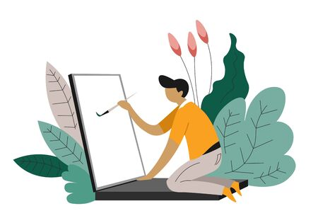 Freelance web designer freelancer isolated character at laptop with paintbrush abstract plants computer and painting online creative occupation distance work modern technologies and art design 일러스트