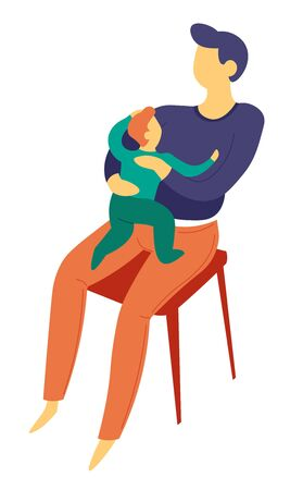 Family father sitting with baby son on lap isolated character vector child and parent bringing up kid and growing up process fatherhood and childhood dad and little boy on chair love and care