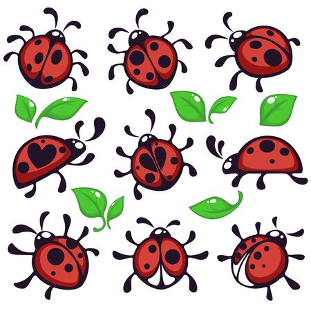 Bug or insect ladybug or ladybird and leaves isolated animal vector beetle with wings and black spots on red body and thin legs foliage flying creature wildlife and nature round body and antennas