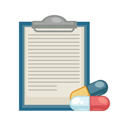 Medicine and healthcare prescription and pills disease treatment pharmacy vector paper sheet on pad and capsules medication and health therapy drugs or vitamins painkillers or antidepressants Illustration