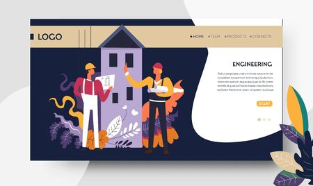 Engineering architectural project web page template engineers
