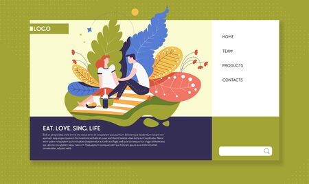 Relationship and outdoor activity online web page template Illustration