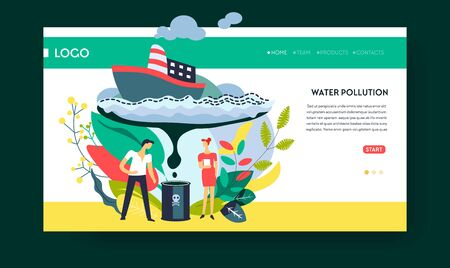 Water pollution oil and fuel stain ship freighter web page template Ilustração