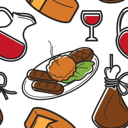 Montenegrin food and drink seamless pattern national cuisine