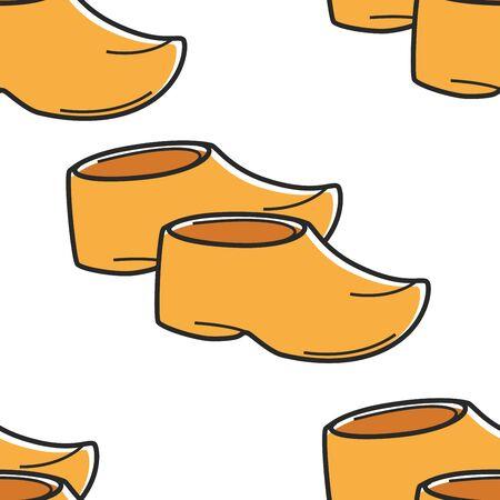 Netherlands traditional footwear wooden clogs seamless pattern Stock Illustratie