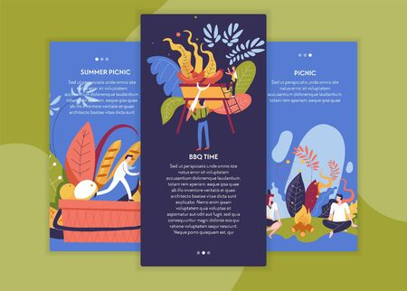 BBQ time and summer picnic Internet website pages templates basket with food sausages on grill man and woman near campfire outdoor activity roasted food or snack baguette and apples abstract plants Ilustrace