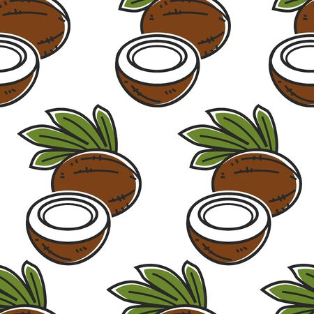 Exotic food coconut Thailand nut seamless pattern vector plant Thai palm fruit tropical organic product endless texture traveling and tourism foreign cuisine ingredient wallpaper print leaves