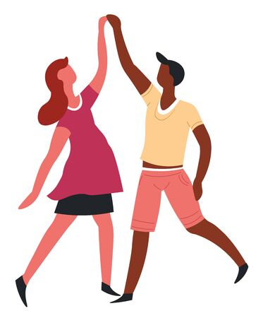 Dance couple dancing romantic date isolated characters vector African man and European woman movement or step holding hands international love entertainment and having fun boyfriend and girlfriend Standard-Bild - 132956206