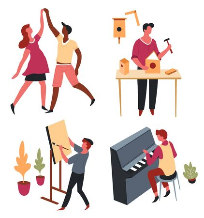 Dancing and carpentry painting and music hobby and art vector man and woman dance birdhouse and hammer easel and paintbrush piano musical instrument wooden handicrafts artist and musician dancers Standard-Bild - 132956407