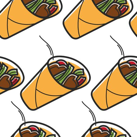 Travel to Turkey shawrama or doner Turkish cuisine seamless pattern vector meat and organic vegetables in pita bread endless texture national food traveling and tourism hot roll wallpaper print Archivio Fotografico - 132956439