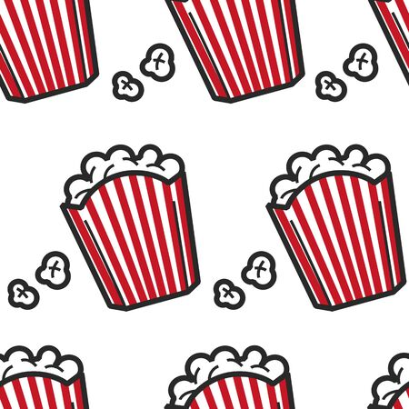American cuisine popcorn USA fast food seamless pattern vector fried corn in striped pack endless texture cinema snack traveling and tourism street meal fastfood dish America symbol wallpaper print