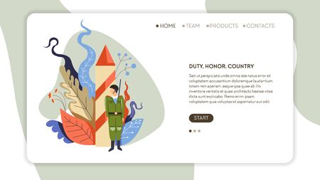 Army service duty honor country web page template vector rocket and soldier missile and man in uniform military forces war and peace battle air attack weapon Internet site mockup state defense