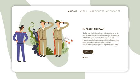 Soldiers recruitment web page template in peace and war army service vector sergeant and captain order military defense online site mockup nuclear battle country security volunteers and contract