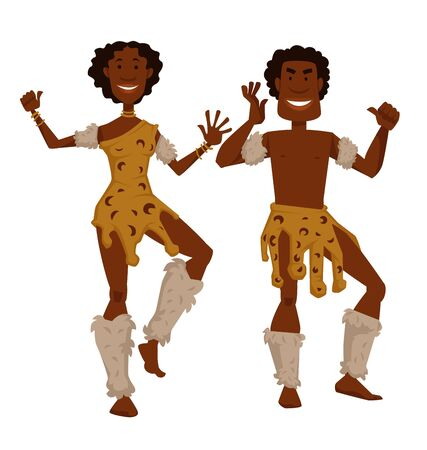 Man and woman in animal skin and fur dancing African tribe vector isolated male and female characters native aborigines desert dwellers traditions and customs ritual dance tourism and culture Standard-Bild - 132957241