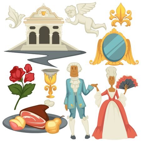 Man and woman in wigs architecture and cuisine Baroque epoch vector building and angel sculpture mirror in golden frame and gold goblet rose flower meat and pear gown and fan jacket with jabot