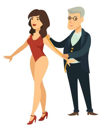 Fashion designer and model taking measurements dressmaker and woman