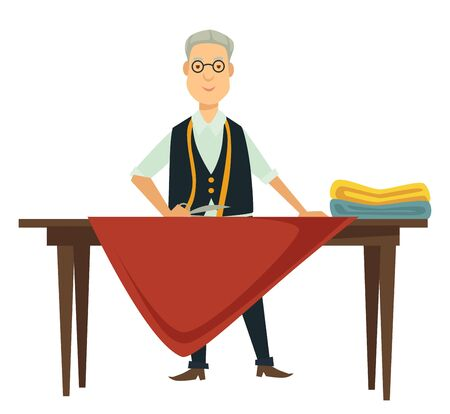Fashion designer and dressmaker or measuring textile with tape on table vector isolated character with fabrics and scissors tailor elderly man in glasses dress creation handmade clothes or couture