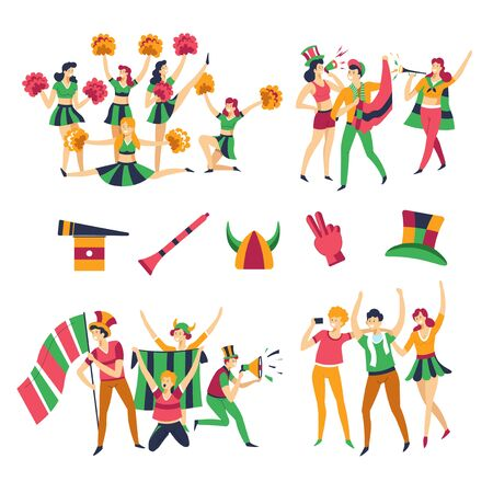 Team color clothes football fans and cheerleaders men and women vector girls with pompons men in hats with pipes or flags cheering up support buffs or rooters glove and headdresses dancing and tricks Imagens - 132929447