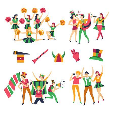Teamfarbe Kleidung Fußballfans und Cheerleader Männer und Frauen Vektormädchen mit Pompons Männer in Hüten mit Pfeifen oder Flaggen, die Unterstützungsfans oder Rooter-Handschuhe und Kopfbedeckungen tanzen und Tricks aufmuntern