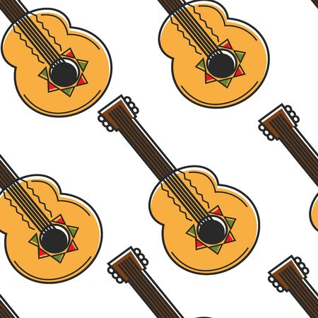 Mexican guitar seamless pattern national musical instrument Ilustrace