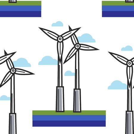 Netherlands ecology protection pattern windmill power station Stock Illustratie