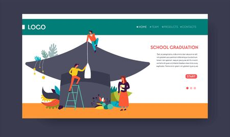 School graduation web page template students and academic hat
