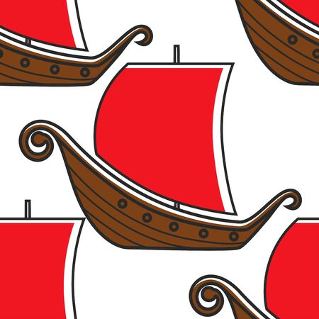 Norway ancient ship vikings vessel seamless pattern 스톡 콘텐츠 - 132957548