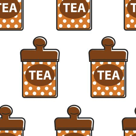 Tea Singapore food metal container seamless pattern
