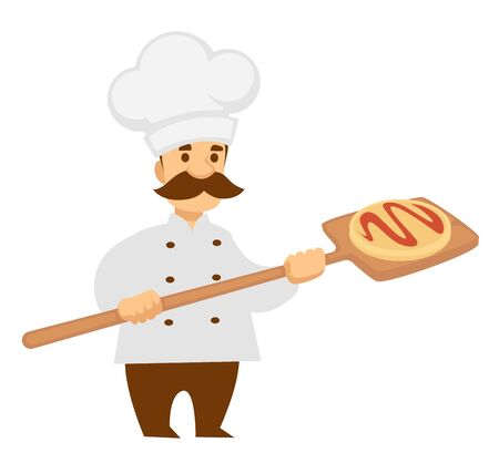 Chef cook with pizza on wooden spade isolated male character Illustration